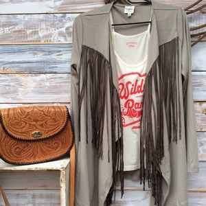 Sweaters - Fringe front cardigan